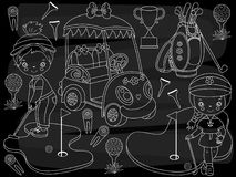 Vector Chalkboard Golf Set with Cute Little Girls and Golf Accessories. Vector chalkboard golf set set. Vector set of cute little girls playing golf, golf buggy Royalty Free Stock Photos