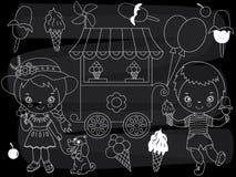 Vector Chalkboard Ice Cream Party Set. Vector Little Kids with Ice Cream on Blackboard Background. Vector chalkboard ice cream party set. Set includes little Stock Photos