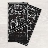 Vector chalkboard printable flyer - invitation to the pub with beer mug and glasses on wooden desk Stock Photo