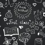 Vector chalkboard school seamless pattern Royalty Free Stock Photos