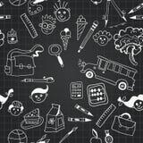 Vector chalkboard school seamless pattern Stock Image