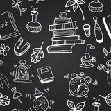 Vector chalkboard school seamless pattern. Black and white seamless pattern Royalty Free Stock Photography