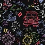 Vector chalkboard school seamless pattern Stock Images