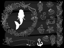 Vector Chalkboard Sea Life Set. Vector Set of Nautical Elements on Blackboard Background. Royalty Free Stock Photos