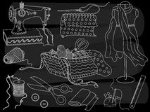 Vector Chalkboard Sewing Set. Vector set of sewing elements on blackboard background. Vector chalkboard sewing set with sewing machine, scissors, threads and royalty free illustration