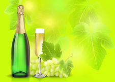 Vector champagne bottle, glass and grape on summer blur background. Created with gradient meshes. Royalty Free Stock Image