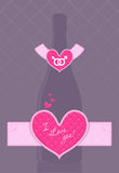 Vector champagne bottle with heart shaped label Stock Photo
