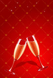 Vector champagne glasses splashing. On red glamour background Stock Images