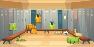 Vector changing room with lockers for sports. Vector changing room with lockers for football, basketball team for game background. Dressing of sports uniform royalty free illustration