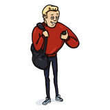 Vector Character - Athletic Guy with a Cell Phone Stock Image