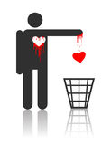 Vector character with bloody heart. Vector character throwing out his bloody heart, concept for St. Valentines day Stock Photos