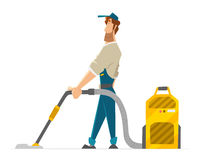 Vector character cleaner janitor man vacuum floor  Stock Photography