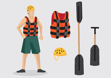 Vector Character and Equipment for Water Sports Outdoor Adventur. Cartoon character wearing life jacket and water shoes with outdoor water sports equipment such Royalty Free Stock Image