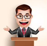 Vector Character Happy Politician Man or Speaker in Conference Speech Royalty Free Stock Photos