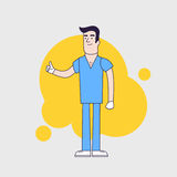 Vector character of happy surgeon in medical uniform. Doctor in professional clothes and hat. Flat line style design. Royalty Free Stock Photos