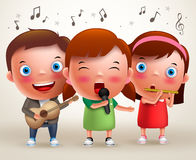 Vector character kids singing and playing guitar and flute while standing. And performing in front of stage. Vector illustration Stock Photo