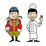 Vector character pilot and chef set Stock Image