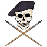 Vector character - skull artist and crossed brushes Royalty Free Stock Photos
