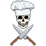Vector character -  skull chef and crossed knifes Stock Photos