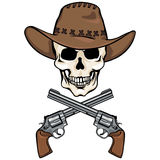Vector character - skull cowboy and crossed revolvers Royalty Free Stock Photos