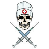Vector character - skull doctor and crossed syringes Stock Images