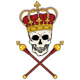Vector character - skull king and crossed royal scepters Royalty Free Stock Images