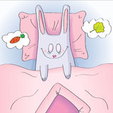 Vector character. Sleeping rabbit under a blanket. Stock Images