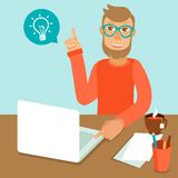 Vector character wearing glasses Royalty Free Stock Image