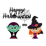 Vector characters for Halloween in cartoon style. Witches. Royalty Free Stock Image