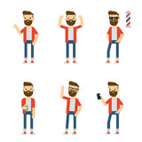 Vector characters: hipster guy in different static poses. Stock Photos