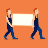 Vector characters holding empty frame. With copy space for text - delivery service concept Royalty Free Stock Photos