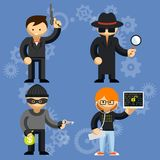 Vector characters involved in criminal activities Royalty Free Stock Image
