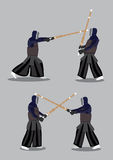 Vector Characters Kendo Martial Arts Combat Sports Royalty Free Stock Images