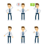 Vector characters: office guy being confused. Stock Photography