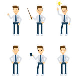 Vector characters: office guy in different static poses. Royalty Free Stock Photos