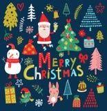 Vector characters Reeks met Santa Claus Kerstmisinzameling voor decor Stock Afbeelding