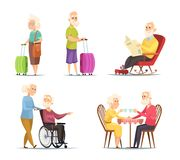 Vector characters set of elderly peoples. Funny characters isolate on white background. People woman and man, grandmother and grandfather illustration royalty free illustration
