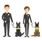 Vector characters: two young police officers man and woman Royalty Free Stock Photography