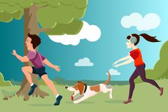 Vector characters. A young girl and a guy  are running with a do. G in the park. Flat style Royalty Free Stock Image