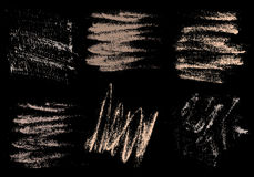 Vector charcoal hand drawing abstract on black background set, c Stock Images