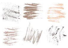 Vector charcoal hand drawing abstract on white background set, c Stock Photography