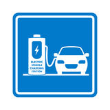 Vector charging station road sign. Place for charge electric car or vehicle. Stock Photography