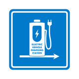 Vector charging station road sign template. Direction to charging station for electric car or vehicle. Royalty Free Stock Images