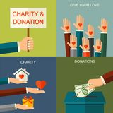 Vector charity and donation concept. Banner illustration with social charity and donation icons and symbols, flat style. Vector charity and donation concept royalty free illustration