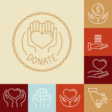 Vector charity line logos and signs Royalty Free Stock Photo
