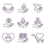Vector Charity Line Logos and Signs Volunteer Royalty Free Stock Images