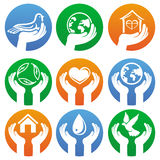 Vector charity signs and logos. Hands and different symbols Royalty Free Stock Images