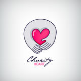 Vector charity, support logo, illustration. Two hand holding heart Stock Photos