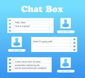 Vector chat interface in blue color. Sms messages. Speech bubbles. Short message service bubbles. Flat interface. UI UX. Vector chat interface. Sms messages Stock Photo