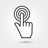 Vector check mark icon, touch icon, flat icons. Hand with pressed finger, flat style